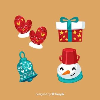 Flache designart der weihnachtselementsammlung