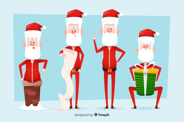 Flache designart der weihnachtsmann-charaktersammlung
