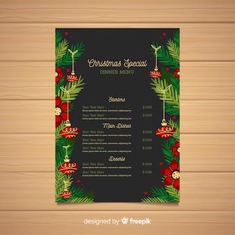 Flache designart der weihnachtsmenü-schablone