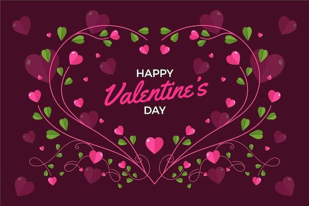 Flache designart des netten valentinstaghintergrundes