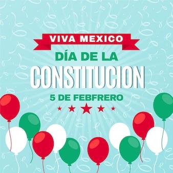 Flache designballons des mexikanischen verfassungstages