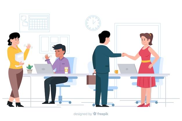 Flache designcharaktere, die an arbeitsplatz grüßen