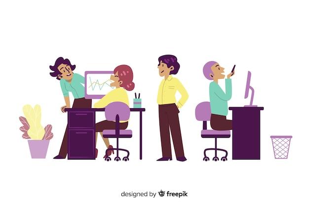 Flache designcharaktere, die an arbeitsplatz plaudern