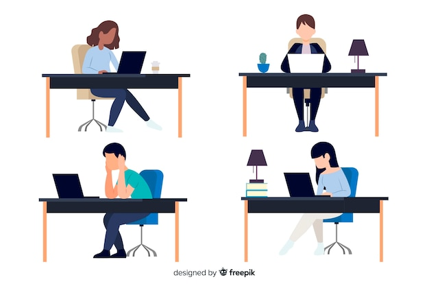 Flache designcharaktere, die im büro arbeiten