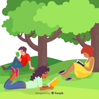 Flache designcharaktere, die unter bäumen lesen