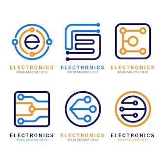 Flache designelektronik-logo-vorlagen