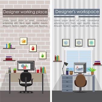 Flache designerarbeitsplätze vertikale banner mit tischstuhl computer briefpapier lampe bilder dokumentiert pflanzen regale vektor-illustration