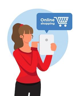 Flache designfrau beim online-shopping