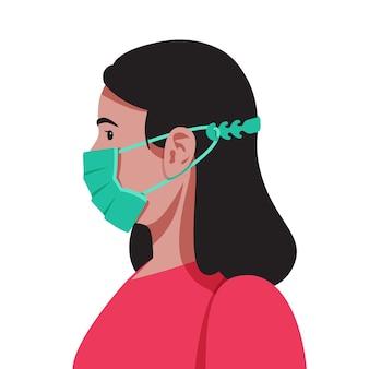 Flache designfrau, die einen verstellbaren medizinischen maskenriemen trägt