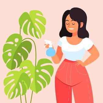 Flache designfrau, die sich um pflanze kümmert