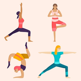 Flache designfrauen, die yoga tun