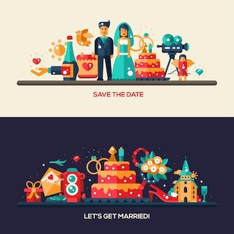 Flache designhochzeits- und heiratsantragsfahnen mit ikonen und infografikelementen