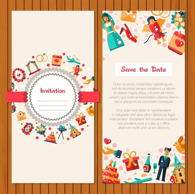 Flache designhochzeits- und heiratseinladungskartenschablone