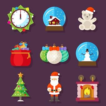 Flache designikonen des neuen jahres und der weihnachten. kamin mit socke, uhr und teddybär, spielzeug und weihnachtsmann. vektorillustration