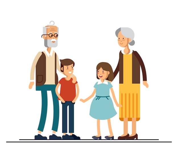 Flache designillustration der großeltern mit enkelkindern. verwandte stehen zusammen.