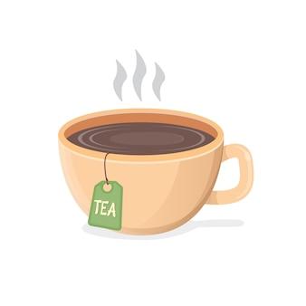 Flache designillustration der heißen schwarzen teetasse