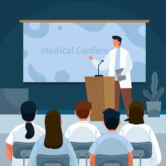 Flache designillustration der medizinischen konferenz