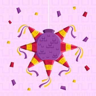 Flache designillustration der posada piñata