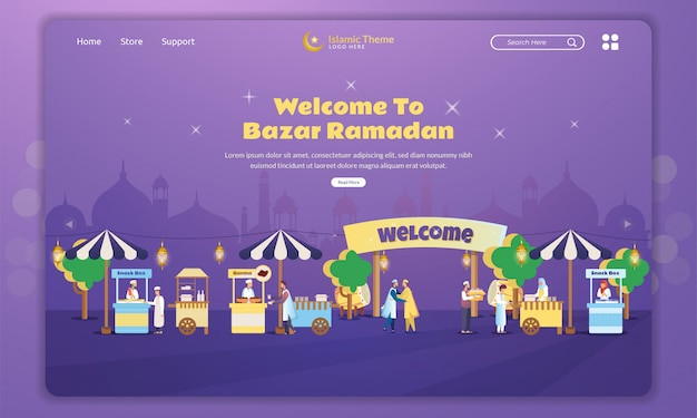 Flache designillustration des bazar ramadan marktkonzepts auf landing page