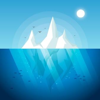 Flache designillustration des eisbergs mit vögeln und fischen