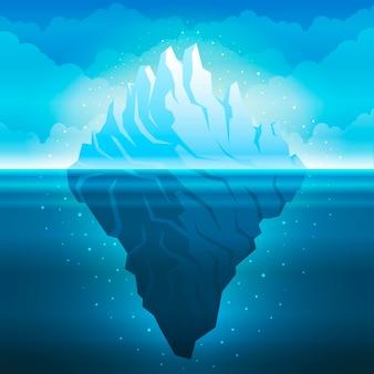 Flache designillustration des eisbergs