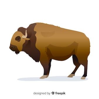 Flache designillustration des enormen büffels