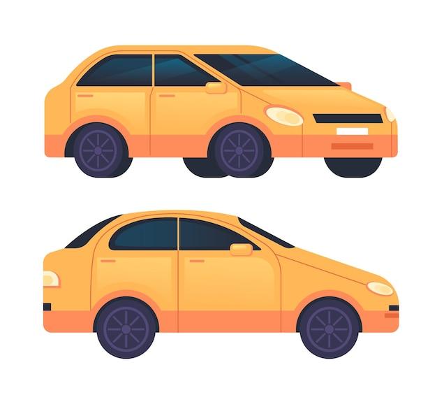 Flache designillustration des gelben autotaxisatzes
