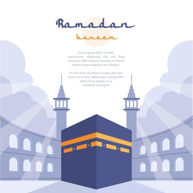 Flache designillustration des kaaba und mekka-konzepts für ramadanschablone