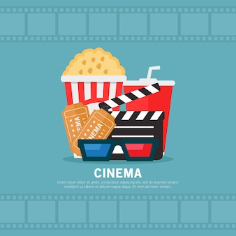 Flache designillustration des kinos