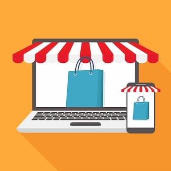 Flache designillustration des online-shops