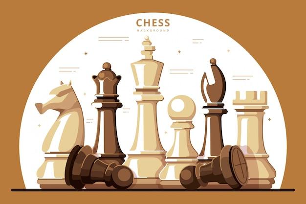 Flache designillustration des schachhintergrunds