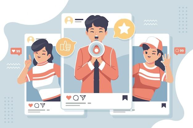 Flache designillustration des sozialen medienmarketings