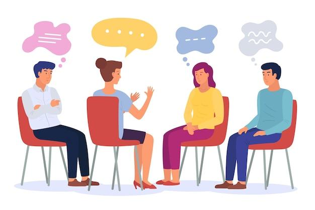 Flache designillustration gruppentherapie