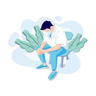 Flache designillustration von gestressten ärzten, die sich mit dem unvollendeten coronavirus befassen, sowie verschiedene neue, virulentere varianten