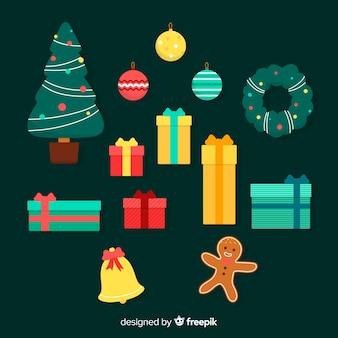 Flache designillustration weihnachtsdekoration