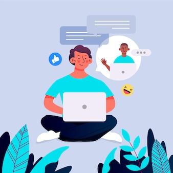 Flache designillustrationsfreunde, die auf laptop aufrufen