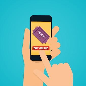 Flache designillustrationskonzepte der online-kinokartenbestellung. hand hält mobiles smartphone mit online-kauf-app. modernes flaches kreatives info-grafikdesign.