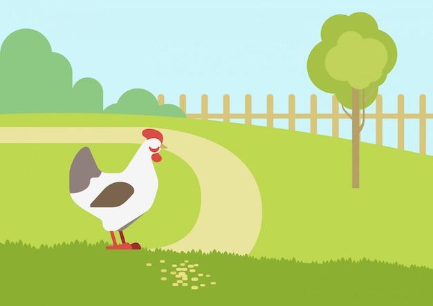 Flache designkarikatur-nutztiervögel des hühnerhennenhäuschenlebensraumhintergrundes.
