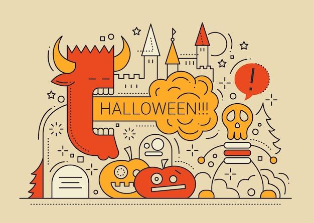 Flache designkarte der farbigen linie der halloween-partei mit feiertagssymbolen