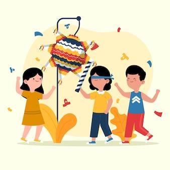 Flache designkinder, die posada mit einer pinata feiern