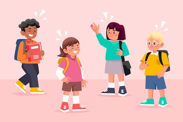 Flache designkinder, die zurück zur schule gehen