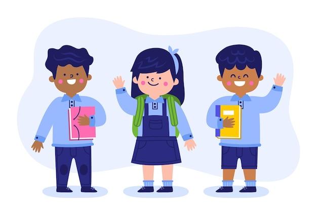 Flache designkinder zurück zur schule