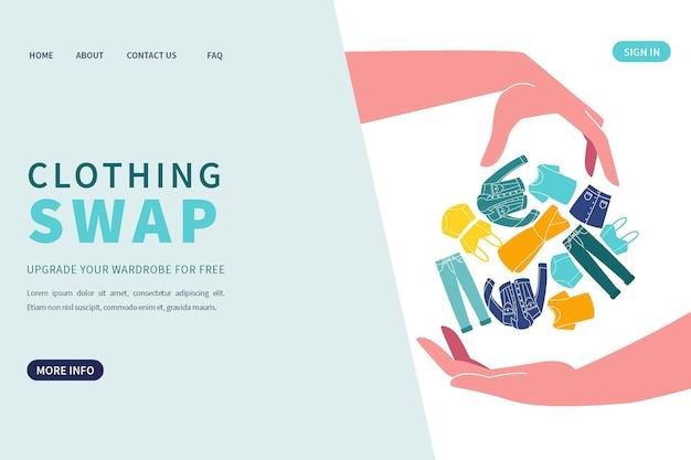 Flache designkleidung, die webschablone tauscht