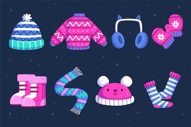 Flache designkollektion von winterkleidung