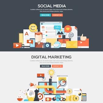 Flache designkonzept-fahnenschablone - social media und digitales marketing