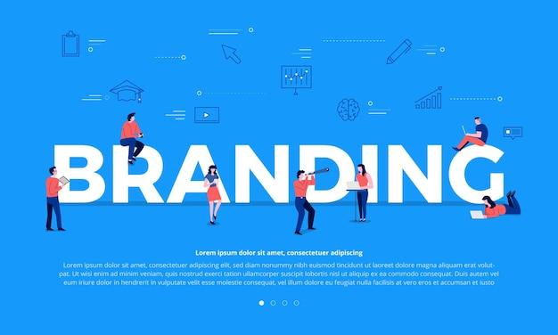 Flache designkonzept-teamarbeit von geschäftsleuten, die text branding bauen