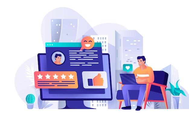 Flache designkonzeptillustration des besten feedbacks von personencharakteren
