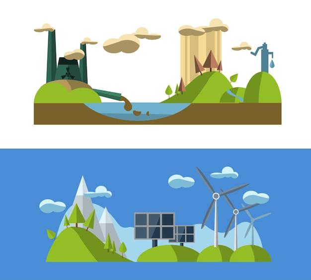 Flache designkonzeptillustration mit ikonen der grünen energie und der umweltverschmutzung der ökologieumgebung