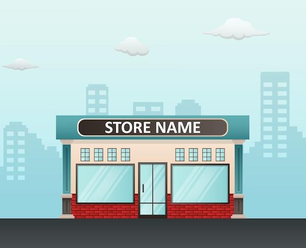 Flache designladenfront mit platz für namen