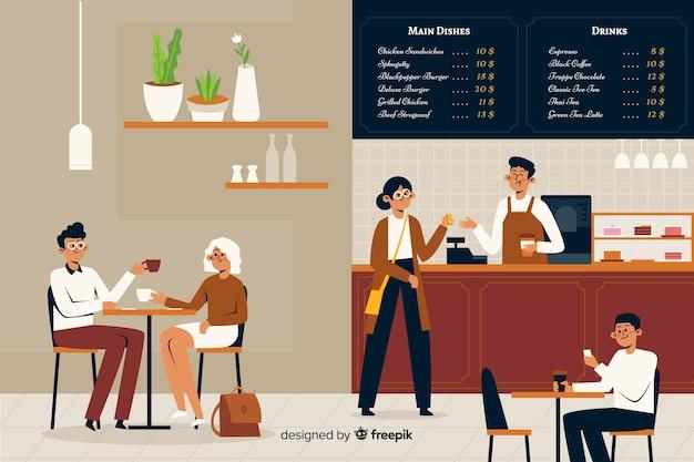 Flache designleute, die am café sitzen